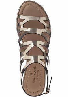 Kate Spade - Aster Flat Sandal Metallic Mushroom Leather | SS 2014 | cynthia reccord