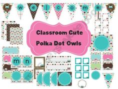 Classroom Decor Set~Polka Dot Owls~Desk Plates, Banner, Word Wall and More