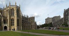 Casitllo de Windsor, UK. Capilla de San Jorge, Capilla de la Virgen, Torre Redonda,  alojamientos de los Caballeros Militares de Windsor y la residencia de su gobernador.