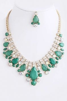 Crystal Teardrop Stacked Set Costume Jewelry $23
