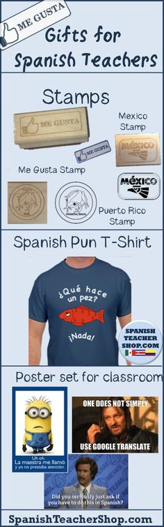 Give a colleague or your child's Spanish Teacher a gift for their classroom including our Spanish Speaking Country Passport Stamps, Spanish classroom posters, or a fun t-shirt. All exclusives from SpanishTeacherShop.com