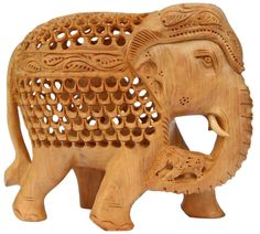 Trunk-full Of Charm – Hand carved Wooden Figurine of Mother & Baby Elephant – Unique Filigree Art in Wood Elephant Statue - Unique Animal Decor  - Buy in Bulk Wholesale
