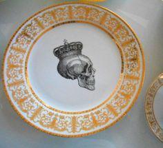 Stunning Gold Skull Dinnerware Halloween Dishes Plates Full Set 7 Available   eBay