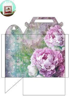 Lovely peony box by JB.  Print two copies and glue together.