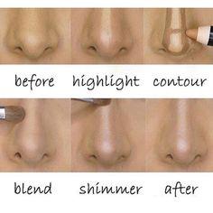 before / after contour nose. Instagram photo by @elegancetips via ink361.com
