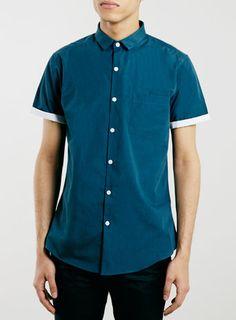 Teal Short Sleeve Slim Dress Shirt