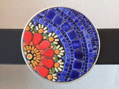 Mosaic Flower Buckle with Belt Red Yellow by SallyMaysMosaicArt Mosaic Tile Art, Mosaic Artwork, Mosaic Diy, Mosaic Garden, Mosaic Crafts, Mosaic Projects, Mosaic Glass, Glass Art, Stained Glass