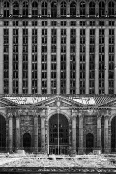 Michigan Central Station is a defining example of Detroit's urban decay. The building was built in 1913, and was the tallest railroad station in the world at 230 feet (18 stories). As air travel and auto usage overtook rail transit in the US, the usage dwindled, and the last train to use MCS was in 1988. The building has been completely unused since that date. Films such as Naqoyqatsi and Transformers have used the building as a symbol of blight and decay. (Zach Fein)