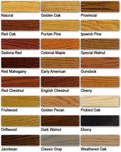 Stain Color Guide - Minwax; we have 110 year old heart pine floors throughout the house; deciding on English Chestnut; porches are white oak; kitchen cabinets and thresholds are Kentucky Coffeetree