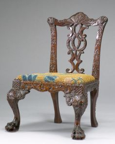 Superb and very rare century miniature Chippendale chair Georgian Furniture, Colonial Furniture, Antique Furniture, Antique Chairs, Vintage Chairs, Chippendale Chairs, Miniature Chair, Mini Chair, Cozy Chair