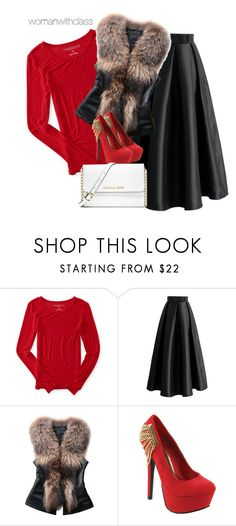 """{ Christmas party }"" by womanwithclass ❤ liked on Polyvore featuring Aéropostale, Chicwish, Red Circle and MICHAEL Michael Kors"