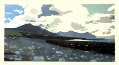 Ann Lewis - Winter Afternoon on Aberdesach beach. 10 colour linoprint