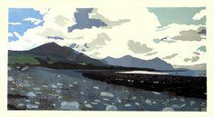 Ann Lewis - Winter Afternoon on Aberdesach beach. 10 colour linoprint