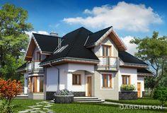 Dom z użytkowym poddaszem i dużymi oknami