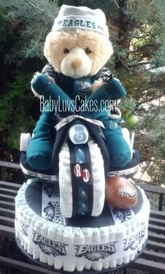 24dcb2867 Football Diaper Cake Philadelphia Eagles Outfit by BabyLuvsCakes Baby Shower  Crafts