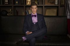 Wil Valor Winter Collection 2013 - Blue plaid with purple check 3 Piece Suit $2200, Violet shirt with Black MOP Buttons $259, Velvet self-tied Bow Tie $130, Pride of Scotland Pocket Hanky $80 - – Shoes Aqulia