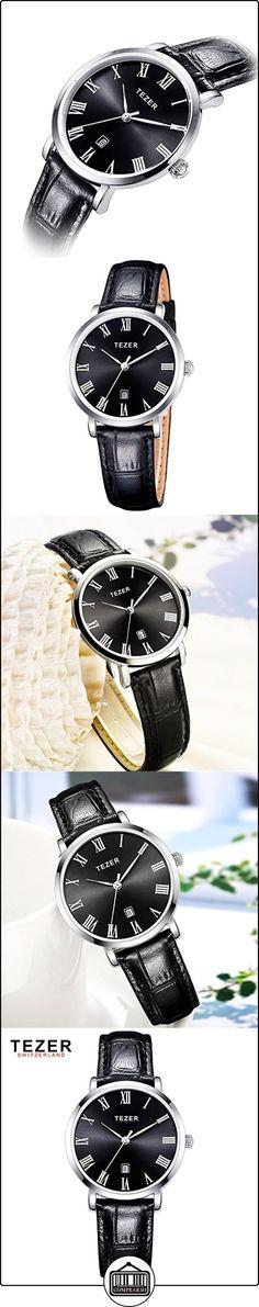 158e52386025 Tezer Mujer Relojes Negro Correa de cuero de moda de cuarzo relojes de  pulsera. t3051