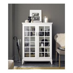 Paterson White Two-Door Cabinet from Crate and Barrel White Bathroom Cabinets, White Cabinets, Entryway Furniture, Painted Furniture, Glass Cabinet Doors, Glass Doors, Storage Cabinets, Kitchen Storage, Display Cabinets
