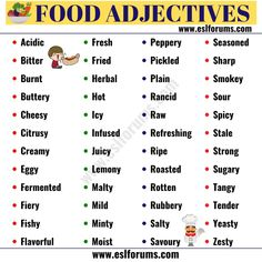 List of Adjectives: The Ultimate List of Adjectives in English with ESL Pictures! List Of Adjectives, English Adjectives, English Vocabulary Words, Learn English Words, English Tips, English Lessons, English Food, English Class, Grammar For Kids