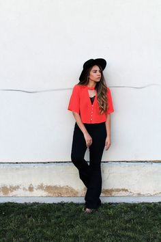 blood orange crop top and high waist bell bottoms bohemian summer look
