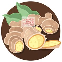 Ginger   Flat Vector Art Illustration   Herbs & Spices by Brooke Luder   www.brookeluder.com Stock Art, Bowser, Vector Art, Art Pieces, Royalty Free Stock Photos, Flat, Illustration, Pattern, Spices