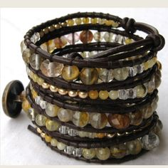 2 mm thick genuine brown leather cord with graduated faceted rondelle and round watermelon tourmaline gemstone beads, rutilated quartz beads, yellow agate and golden plated Czech glass beads loomed on it. It is finished with an antique brass metal button closure.
