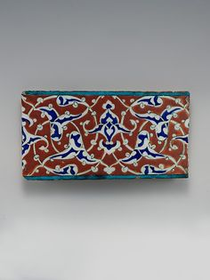 Border Tile with Split-palmette Design Object Name: Tile Date: ca. 1578 Geography: Turkey, Iznik Medium: Stonepaste; polychrome painted under transparent glaze
