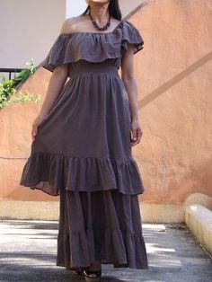 Long Maxi Dress ..  Off The Shoulder Dress ... Flamenco by Ablaa, $53.00