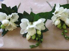 classic white freesia and ivy