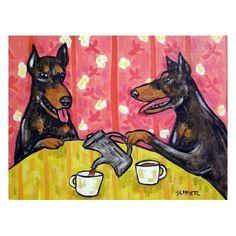 Doberman Pinscher Tea Time DOG Art Print 8x10 by lulunjay on Etsy, $12.49