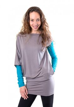 Grey and turquoise asymmetrical dress Indie, Asymmetrical Dress, High Fashion, Tunic Tops, Sweatshirt, Turquoise, Grey, Unique, Collection