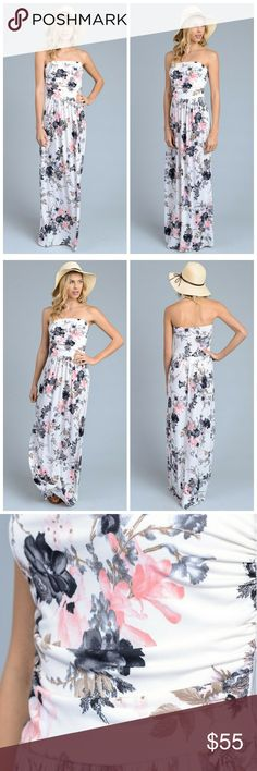 Gail Floral Print Maxi Dress Floral printed strapless maxi dress with empire waist and pocket on the front.   96% polyester 4% Spandex Dresses Maxi