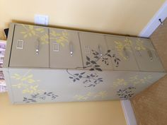 Stenciled filing cabinet....I'd totally do this in several shades of fall colors.