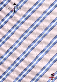 Particolare Tessuto Cravatta Seta Mogador Rosa a Righe Royal Blu e Bianche