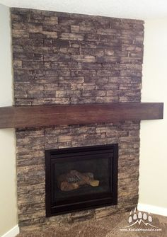 Interior Fireplace with our Stacked Stone profile in Walnut. www.KodiakMountain.com