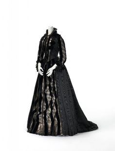 Mourning dress, 1885-1890. I like something along this lines for Mrs. Carmichael