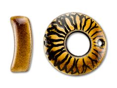 Clay River Designs Porcelain Gingerbread Sunflower Design Round Toggle Clasp - $16.93 at artbeads.com