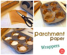 DIY Parchment Paper Muffin cups.  I've been looking for this.  I use parchment for all my home baked breads, even brownies!  Makes them SO easy to come out and you're not messing with that muffin cup that rips off all your yummy food when you take it off.  Brilliant!!