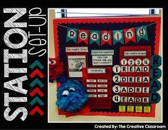 Math and Literacy Station Organization and bulletin board idea