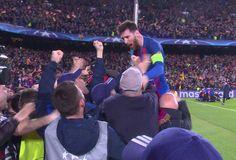 Messi comemora com a torcida Barcelona x PSG (Foto: Ivan Raupp)