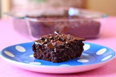 Chocolate pudding dump cake. 4 ingredients: cake mix, pudding mix, milk, chocolate chips. Can't wait to try!
