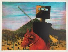 Sir Sidney Nolan 'Kelly and Red Horse', 1972 © The estate of Sir Sidney Nolan. All Rights Reserved 2010 / Bridgeman Art Library Sidney Nolan, Ned Kelly, Peacock Art, 2d Art, Online Art Gallery, Art Museum, Landscape Paintings, Horses, Sydney
