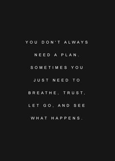 You don't always need a plan.  Sometimes you just need to breathe, trust, let go, and see.  Yeah, right!  Not in my world!