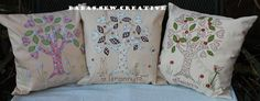 Family Tree cushions. A selection if my applique cushions.I make to order to my own design.Available from https://www.facebook.com/Babas.Sew.Creative