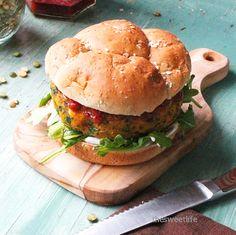 Curried Sweet Potato Burger with Tomato Chutney and Cilantro Aioli