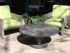 Furniture made from concrete, including chairs like this one, make great outdoor pieces.  Natural Concrete Artistry Hamilton, MI