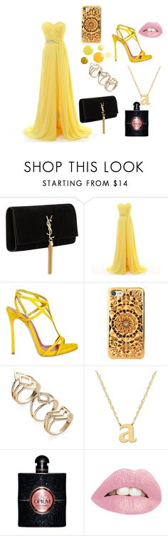 """""""Summer/spring party look🎉"""" by rino-katteh ❤ liked on Polyvore featuring Yves Saint Laurent, Dsquared2 and Jane Basch"""