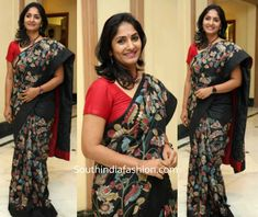 At a recent book launch event, anchor Jhansi was snapped in a black kalamkari saree paired with a red blouse. Beautiful Women Over 40, Kalamkari Saree, Book Launch, South India, Indian Beauty Saree, India Fashion, Red Blouses, Embroidered Blouse, Saree Collection