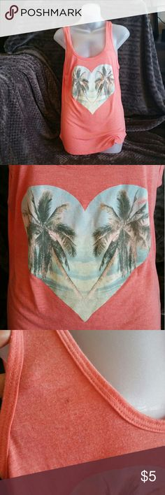 Billabong tank Coral tank top with heart /palm trees graphic.   Nwot.   There is a little mark (pictured) ,  not sure where it came from.   Way too big for me,  more like a large Tops Tank Tops