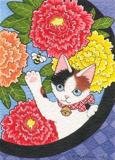 Botan Maneki Neko by B. Mousseau, 2008. #Japanese #art #cute #cats